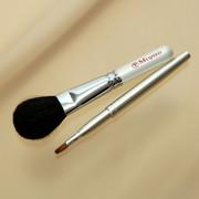 熊野化粧筆メイクブラシ2点セット [チークブラシ&携帯リップブラシ]ホワイトパール